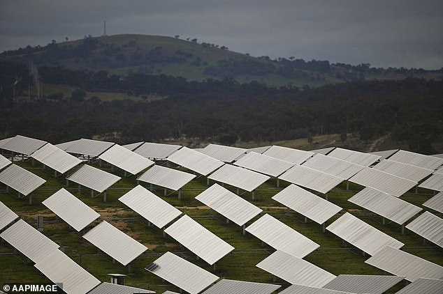 Mr Morrison will also spend $67million on microgrid deployment projects in regional and remote communities across Australia. Microgrids are set up by farmers and mining companies to generate electricity using solar panels (pictured) and batteries instead of diesel generation