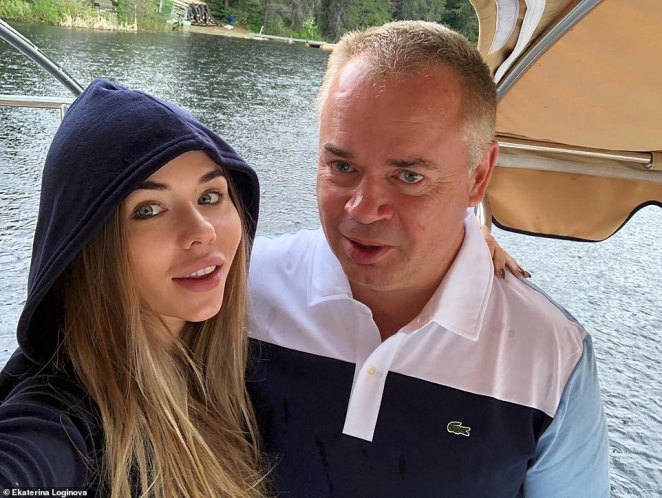 Russian banking tycoon Sergey Grishin, 54, the man who sold his Californian mansion to Harry and Meghan in a cut-price deal for $14,650,000, which was finalised on June 18, is pictured with his former lover Ekaterina Loginova, 30, before their split