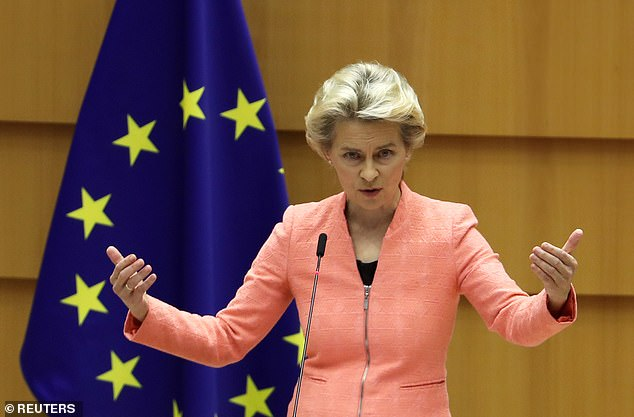 Ursula von der Leyen, the President of the European Commission pictured in Brussels today, warned hopes of the EU striking a 'timely' trade deal with the UK are fading