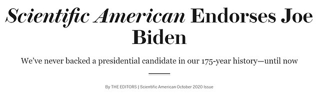 The publication said it felt 'compelled' to jump off the fence in a presidential election for the first time in its 175-year history
