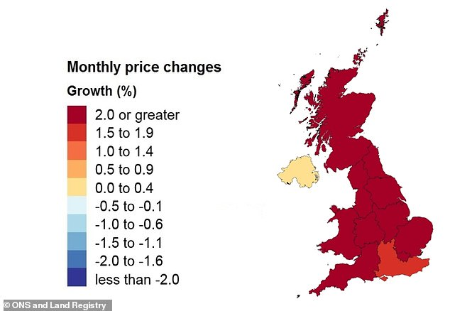 Most regions saw strong house price growth in June, latest official data shows