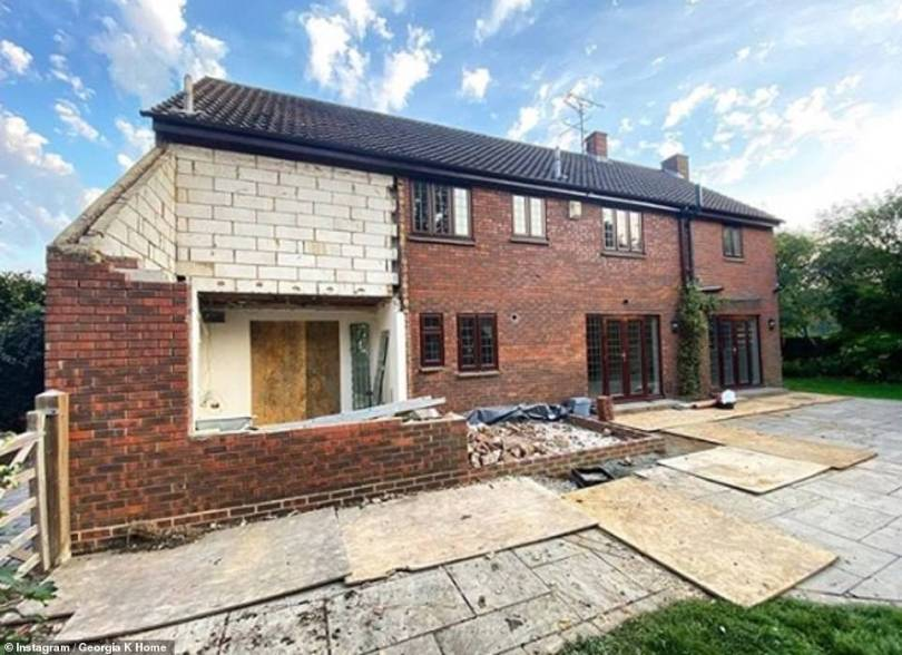 Impressive: TOWIE's Georgia Kousoulou and Tommy Mallett have quite the project on their hands as they're renovating their new mansion in the English county, which the businessman, 28, bought for his girlfriend of six years, 29, last month