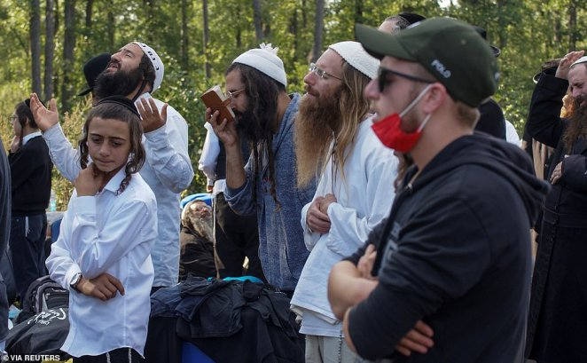 Jewish pilgrims, who plan to enter Ukraine for a pilgrimage from the territory of Belarus, gather at Novi Yarylovychi crossing point in Chernihiv Region, Ukraine