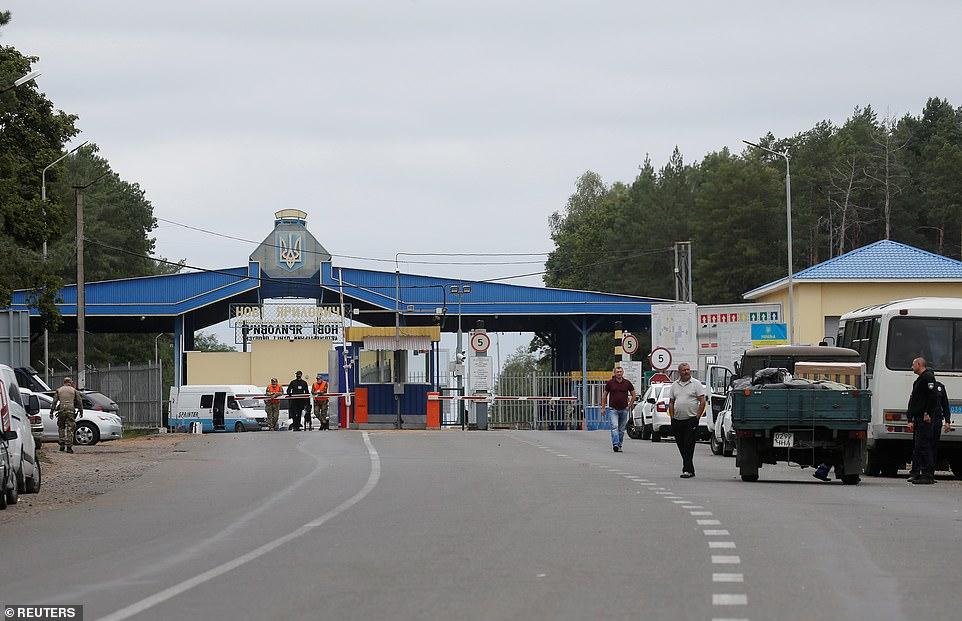 Novi Yarylovychi crossing point, where Jewish pilgrims, who plan to enter Ukraine from the territory of Belarus, gather in Chernihiv Region, Ukraine September 15, 2020