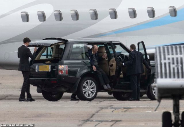 The Queen and Prince Philip later arrived at the airport in Aberdeenshire, where theyboarded a private jet before departing from Scotland