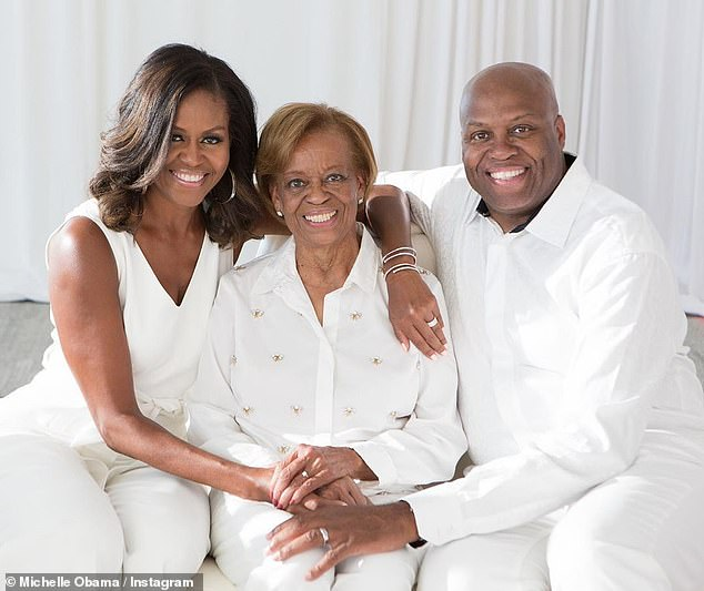 Family time: The former First Lady spoke with her brother Craig Robinson and mother Marian Robinson in the latest episode of her podcast