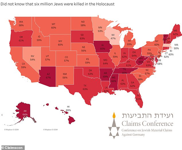 A heat map shows for each state, the percentage of respondents who did not reply 'six million' when asked how many Jews were killed in the Holocaust