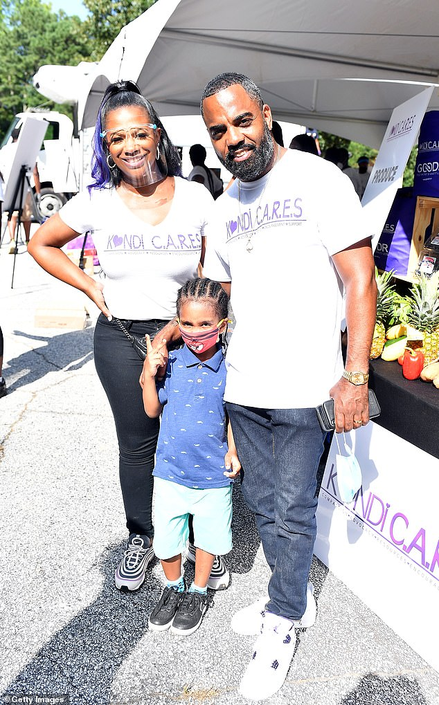 Gorgeous family:The brunette beauty was most recently seen on September 11 with husband Todd Tucker and their son Ace Wells, four; they are also parents to daughter Blaze Tucker, 10 months. Blaze was born via surrogate; pictured September 11 at Kandi C.A.R.E.S. & Goodr Pop Up Grocery