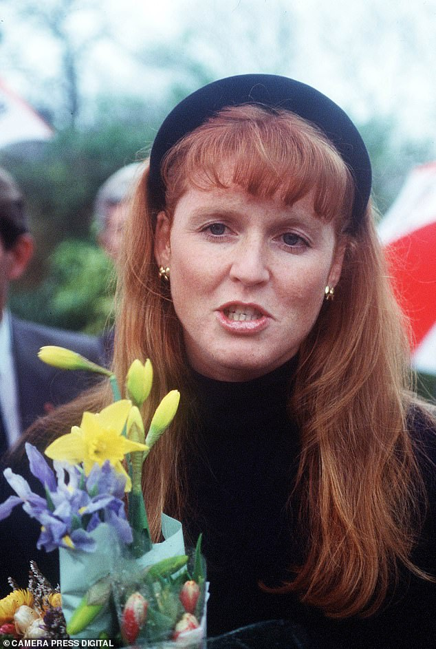 Fergie often swept her flowing red locks from her face using the trendy accessory in the 80s (picturedvisiting the Offices of Action Research for Crippled Children in Horsham in February 1989)