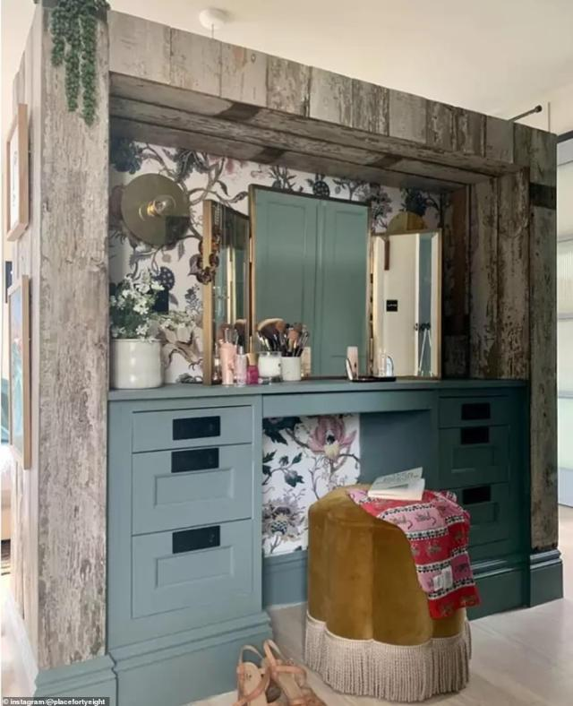 The room has been cleverly designed to work for Katy and her family, with the DIY enthusiast creating a beauty counter space in a corner of her master suite