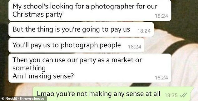 One photographer, from the UK, was left perplexed by an unusual request for them to take pictures at a school Christmas party and pay for the privilege of doing so