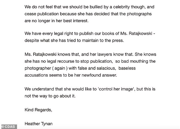 Allegation: Tynan suggested that the model had accused Leder of sexual assault as revenge because the company had 'had every legal right' to publish the books of photos