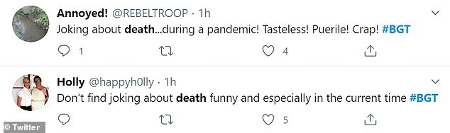 Reaction:Unimpressed viewers took to social media to react to his routine, with one writing: 'Joking about death during a pandemic! Tasteless!'