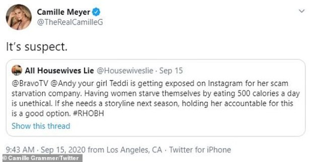 Calling out: Grammer's initial tweet was in response to the 'All Housewives Lie' Twitter account regarding the Mellencamp controversy