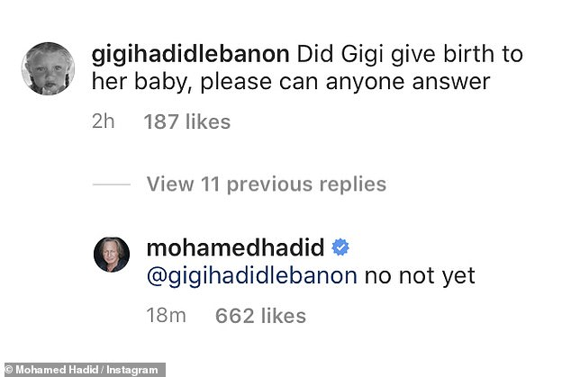 Jumping the gun! But he later clarified that the family was still waiting when asked if Gigi had given birth in the comment section