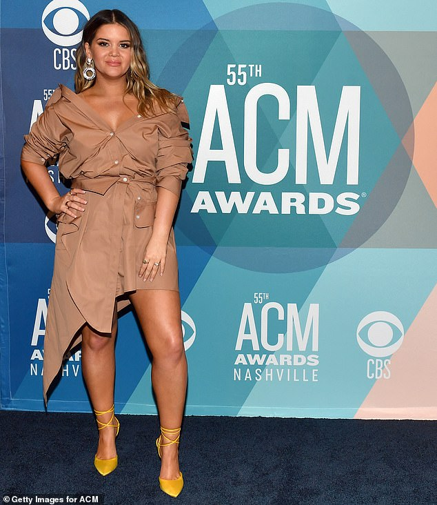 Tough crowd: She was competing against a tough crowd including Kelsea Ballerini, her collaborator Miranda Lambert, Kacey Musgraves and Carrie Underwood for Female Artist of the Year; shown September 15