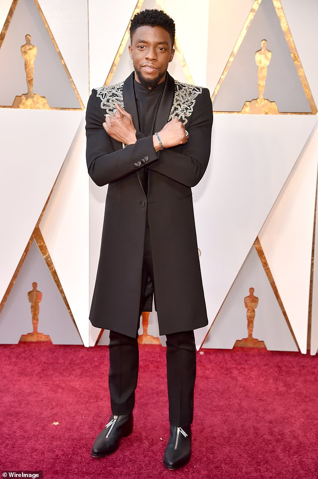 Gone too soon: Boseman, pictured at the Oscarsin March 2018, was diagnosed with colon cancer in 2016 but kept it secret. He succumbed to the disease on August 28 at the age of 43