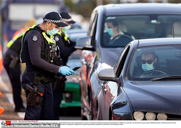 Drivers are pulled over at checkpoints as restrictions eased in regional Victoria