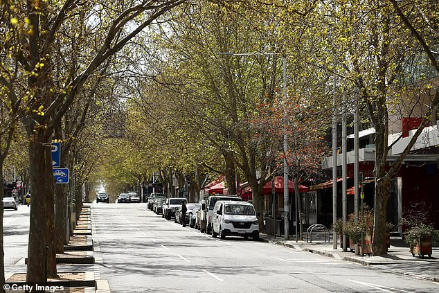 Pictured: A general view of Lygon Street in Carlton, Melbourne, during Stage Four lockdown on September 16
