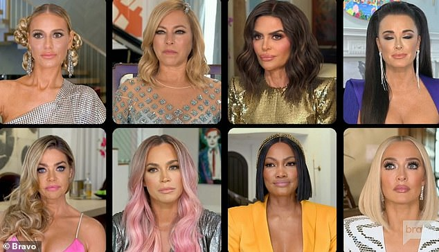 Together again: Dorit Kemsley, Sutton Stracke, Lisa, Kyle Richards, Denise, Teddi, Garcelle Beauvais and Erika Girardi gathered virtually for the season 10 reunion on Bravo