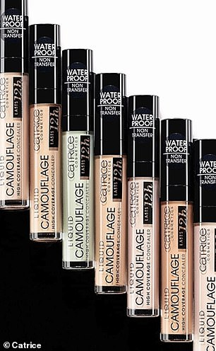 The collection starts at £2.29 for an eye pencil, includes foundation for £6.95, while their most expensive product is a set of six face and eye brushes for £15.95. Pictured, Catrice's concealer range