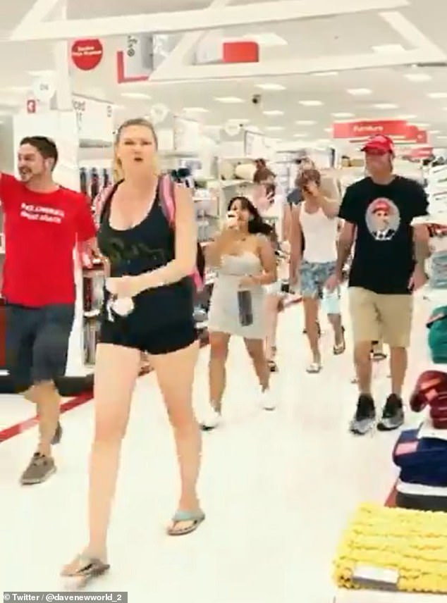 Footage shared online shows a small group of anti-maskers marching through the aisles of the store on North Federal Highway in Fort Lauderdale shouting 'take it off' at other customers