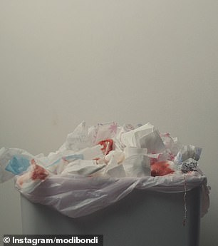 Another shot shows a bin overflowing with tissues that are also blood-stained.