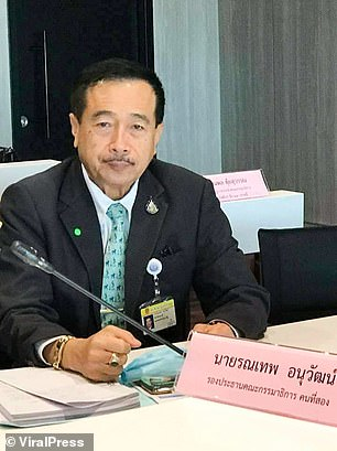 Ronnathep (above) will not face any action over looking at porn while in parliament as House speaker Chuan Leekpai said the matter was 'personal'. Ronnathep is the second Thai MP to have been caught surfing smut at work