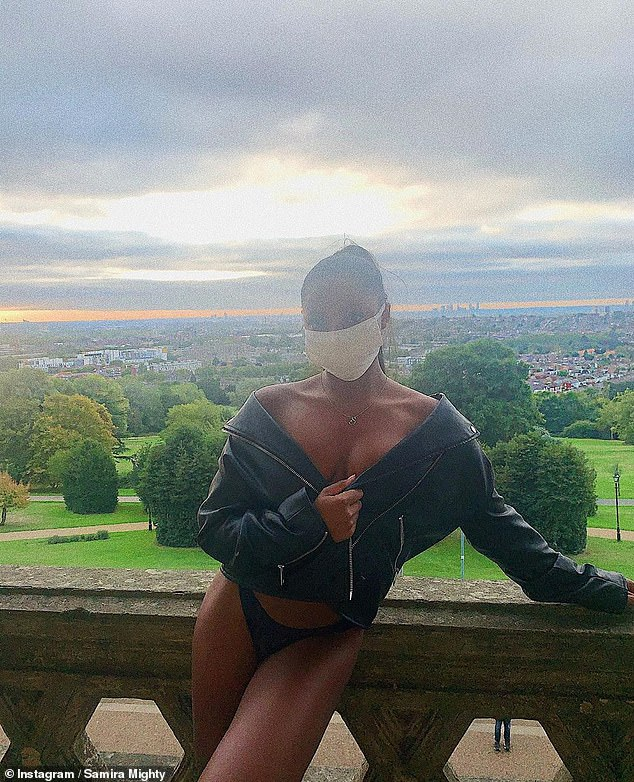 In her element:Catching the eye, the Love Island star, 23, went braless underneath a leather biker jacket while sporting a protective face mask amid the coronavirus pandemic