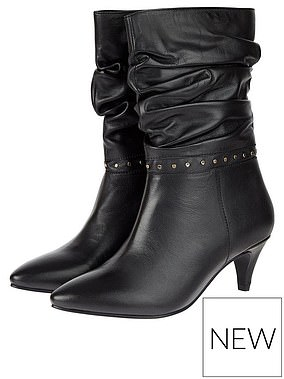 Monsoon Slouch Studded Leather Boots (£80) at Very