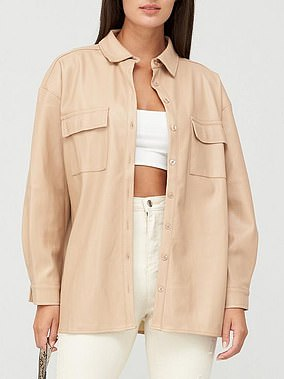 Missguided Drop Shoulder PU Shirt (£40) at Very