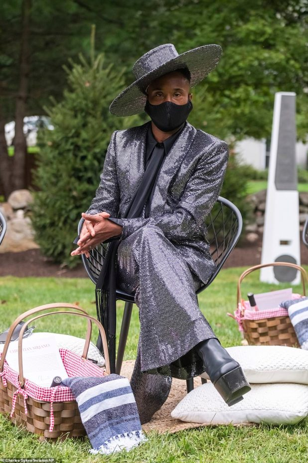 Wink: Pose star and fashion icon Billy Porter put himself on the show.  The 50-year-old actor wore a silver chain suit with tailored jacket and flared trousers.