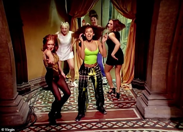 Big occasion! The Spice Girls are thought to be planning to remake their Wannabe video to ring in their silver anniversary in 2021, without Victoria (pictured in the 1996 video)