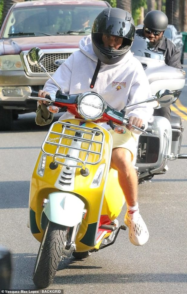 Busy Bieber: Just a few hours before the premiere of his new song and music video Holy, Justin Bieber visited LA's landmarks on Thursday in Vespa.