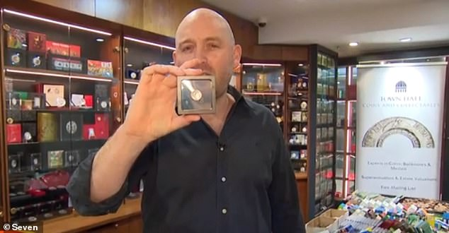 Mr Jobson (pictured), who runs a Sydney coin and collectables store, also has a 'mule' 5c piece which was struck in 2007 with the Queen's likeness on both sides instead of the echidna
