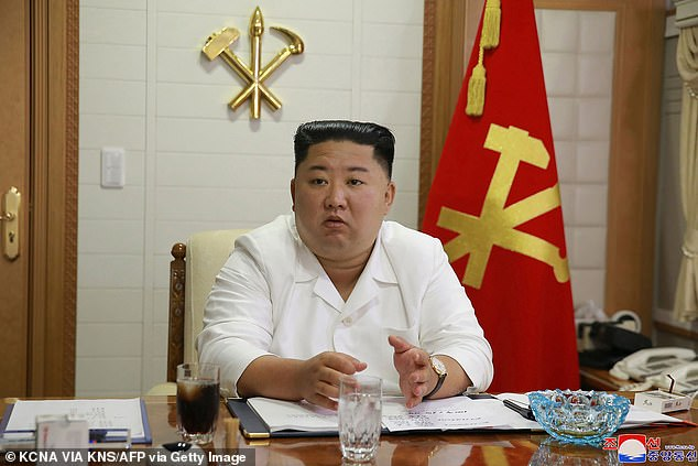 Experts are watching to see if Kim Jong-un (pictured earlier this month) will unveil new weapons in North Korea