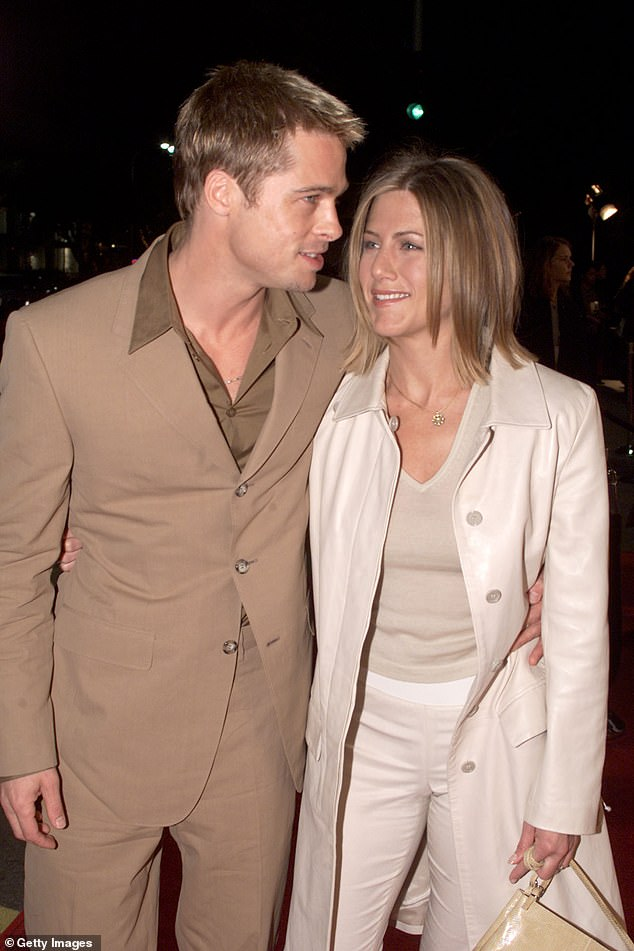 Former loves:This is the first time Jennifer and Brad have reunited on-screen for years. They married in in Malibu, California, in July 2000 and announced their separation in 2005 (pictured in 2001)