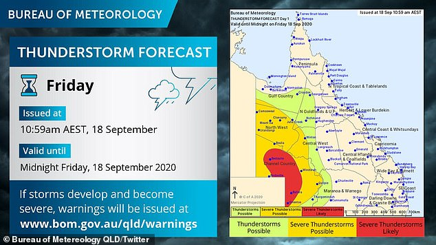 There are severe thunderstorm warnings in place for the southwest of Queensland