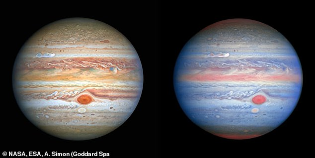 Hubble focused on Jupiter on August 25 and took two images, one using visible wavelengths of light to create a classical look at Jupiter (left), and another which combined various wavelengths, including ultraviolet, visible and near-infrared (right)