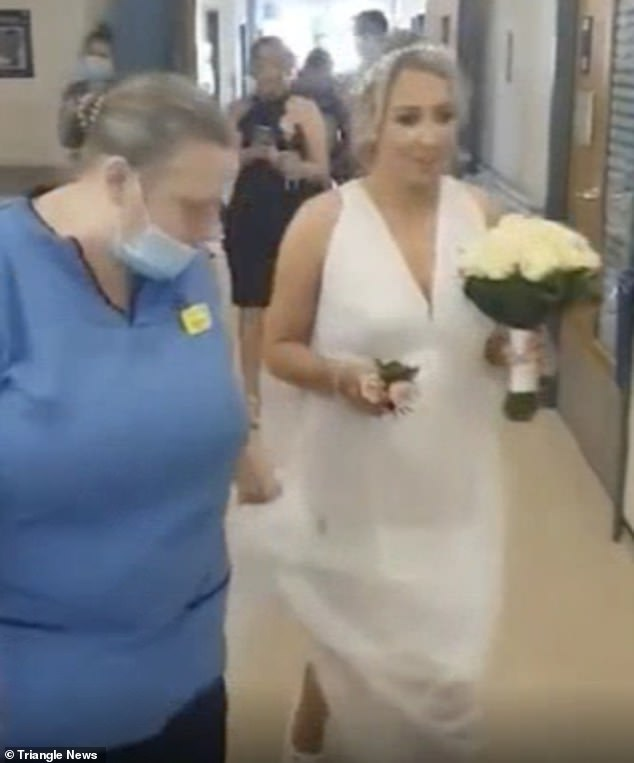 Mrs Lind, 30, left Mrs Bridgewater, 71, speechless when she turned up at her hospital bed in full wedding attire and asked her mother to give her away for her wedding to James