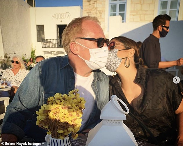 'Love in the time of corona': Last month, the actress posted a loved-up snap with her billionaire husband François-Henri, 58, during their Greek getaway