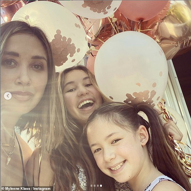 Overjoyed: Myleene said she wanted to make her daughters Ava, 13, and Hero, nine, who are fans of skating themselves, proud and 'show them I'm up for a challenge when completely out of my comfort zone' by competing on the show