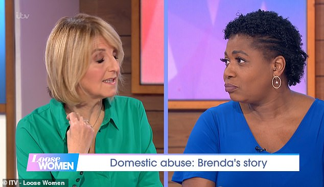 Loose Women's Brenda Edwards (pictured right) has opened up about her abusive ex-partner in an emotional interview on today's show. Pictured left, fellow host Kaye Adams