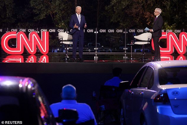 Drive-in with Biden: Obama's vice-president's town hall was in the format of a drive-in theater