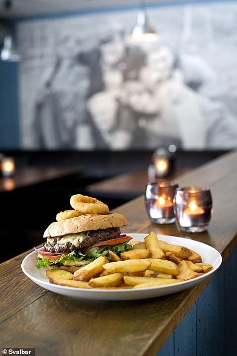 Comfort food: A Svalbar burger and chips dish