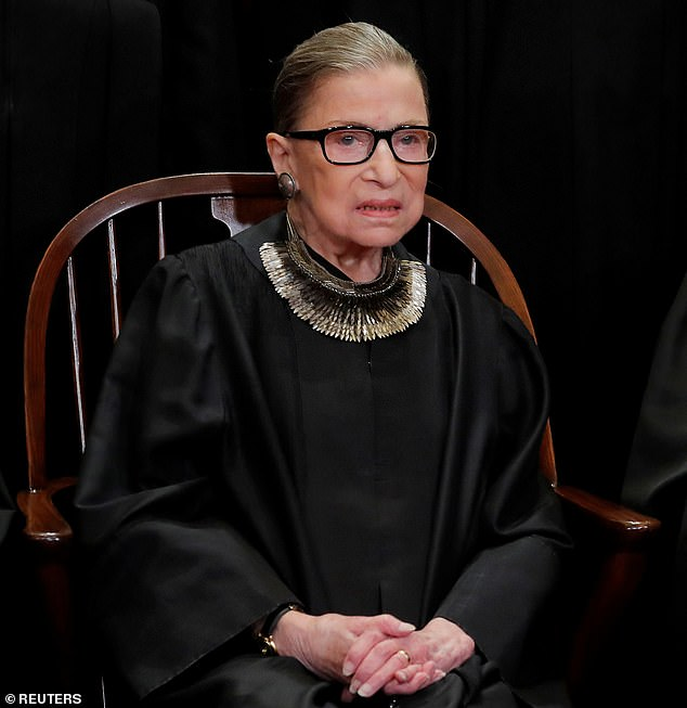 Ruth Bader Ginsburg (pictured) was considered by many to be a legal pioneer who broke down barriers for women pursuing law practices. Pictured:U.S. Supreme Court Associate Justice Ruth Bader Ginsburg poses during a group portrait session for the new full court at the Supreme Court in Washington in 2018