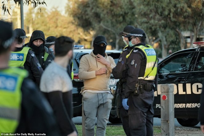 A heavy Police presence is seen in Dandenong following an anti-lockdown protest on August 28