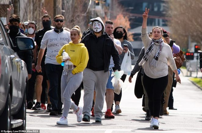 The premier on Saturday did not comment on where Saturday demonstrations would be, with protesters taking caution when sharing information online. Pictured: Protesters rallying against lockdown regulations on Monday on September 13
