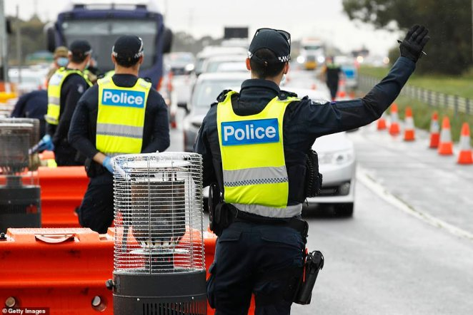 Police conducting checks on motorists at checkpoints - alongside the Australian Defence Force - to ensure Victorians are following state rules