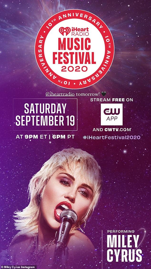 Getting the fans excited:Miley Cyrus continued to sizzle in the spotlight on Friday night, in her latest Instagram post ahead of her Saturday appearance at the iHeartRadio Music Festival